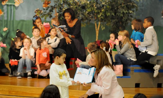 United States first lady Michelle Obama and Mexican first lady Margarita Zavala (front) read The Cat in the Hat with schoolchildren at the Oyster-Adams Bilingual Elementary School in Washington, DC on March 3, 2011. Classes at the public school are taught in English and Spanish. UPI/Pat Benic