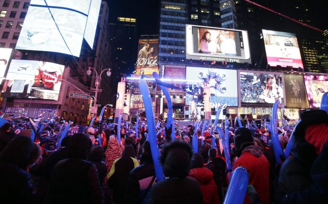 Thousands of revelers gather at Times Square in New York City on New Year's Eve Dec. 31, 2013. UPI/John Angelillo/File