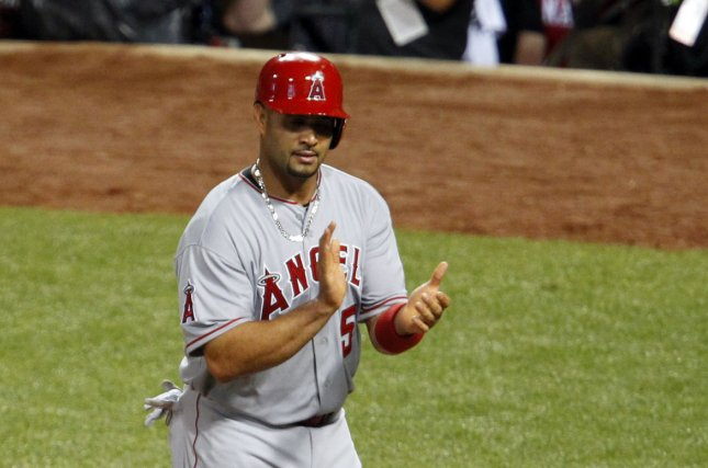 Los Angeles Angels' Albert Pujols (5). Photo by John Sommers II/UPI