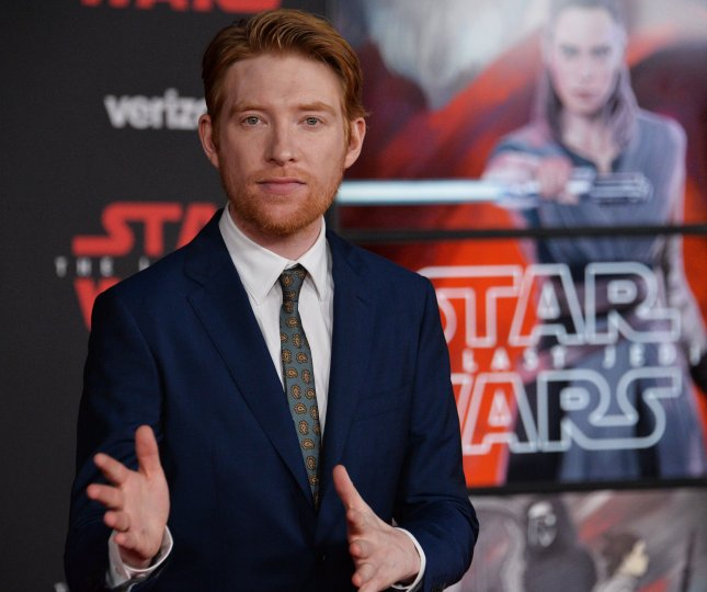 Irish actor Domhnall Gleeson, who is known primarily for his work in dramas, is showing off his comic chops in Peter Rabbit and A Futile and Stupid Gesture. File Photo by Jim Ruymen/UPI
