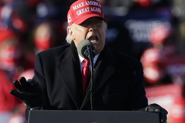 President Donald Trump made five final campaign stops Monday, including a rally at Wilkes-Barre Scranton International Airport in Avoca, Pa. Photo by John Angelillo/UPI