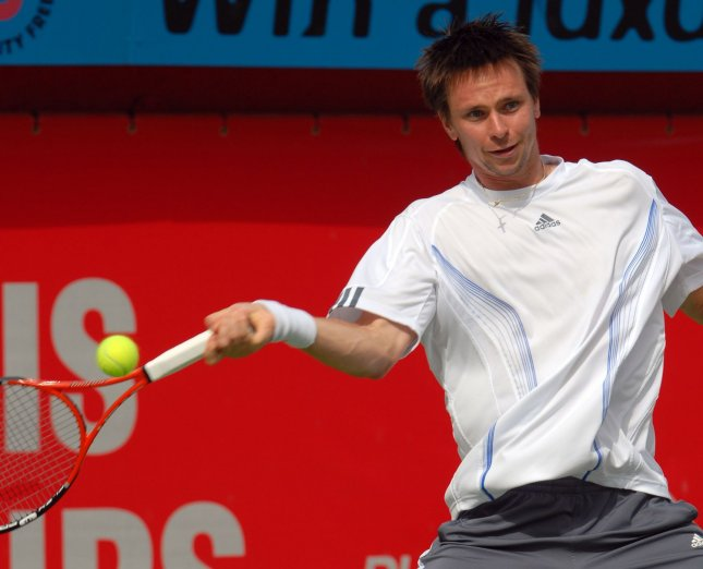 Sweden's Robin Soderling returns the ball back from Russia's Mikhail Youzhny during the semi finals of the Men's Dubai Tennis Championships on Friday March 2, 2007. Youzhny won the match 7-5 6-2. The finals will be held tomorrow, Saturday March 3, 2007. (UPI Photo/Norbert Schiller)
