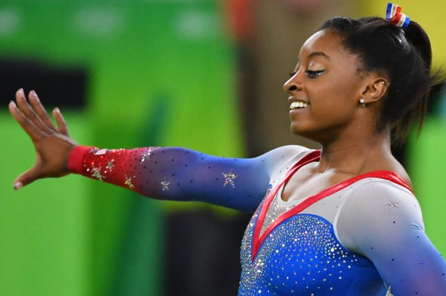 Simone Biles performed a move she hasn't pulled off in a decade and posted a video of the sequence Tuesday on Twitter. File Photo by Kevin Dietsch/UPI