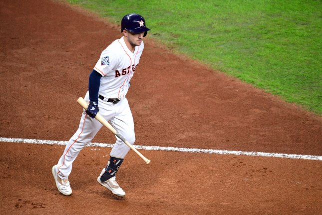 Houston Astros third baseman Alex Bregman, shown Oct. 29, 2019, was injured during the first inning of Wednesday's game against the Texas Rangers. File Photo by Kevin Dietsch/UPI