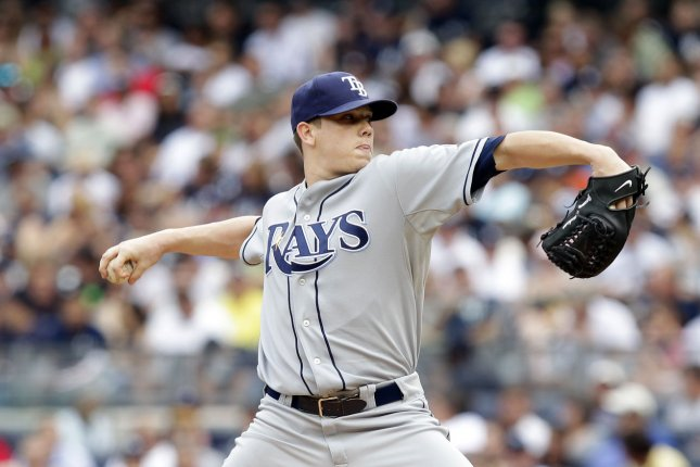 Tampa Bay Rays starting pitcher Jeremy Hellickson throws a pitch in the second inning against the New York Yankees at Yankee Stadium in New York City on August 13, 2011. UPI/John Angelillo