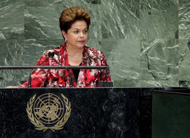 Dilma Rousseff, president of Brazil, addresses the 67th United Nations General Assembly Sept. 25, 2012. (Rousseff was elected to a second term Oct. 26, 2014.) UPI/John Angelillo