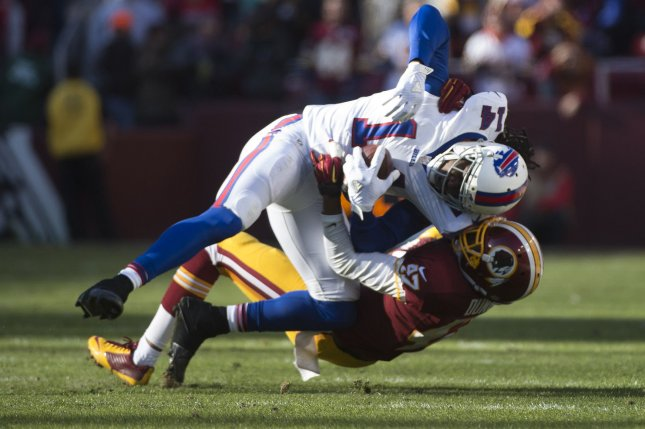 Buffalo Bills wide receiver Sammy Watkins (14) is tackles by Washington Redskins cornerback Quinton Dunbar (47) after a short gain in the second quarter at FedEx Field in Landover, Maryland on December 20, 2015. Photo by Kevin Dietsch/UPI