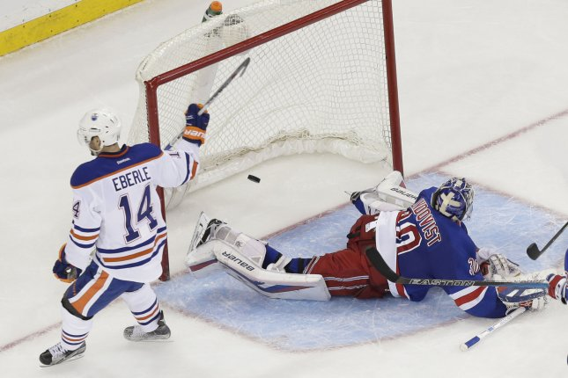 Jordan Eberle, far left, was traded from the Edmonton Oilers to the New York Islanders. Photo by John Angelillo/UPI