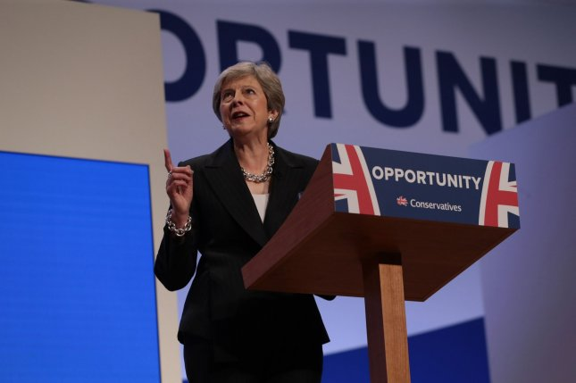 British Prime Minister Theresa May delivers her keynote leader's speech at the 2018 Conservative Party Conference Oct. 3. Photo by Hugo Philpott/UPI