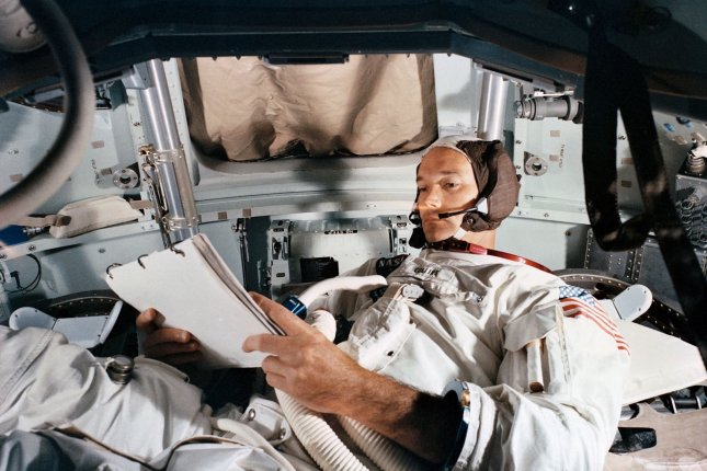 Michael Collins practices in a simulator on June 19, 1969, at Kennedy Space Center. Apollo 11 landed on the lunar surface weeks later on July 20. File Photo courtesy of NASA