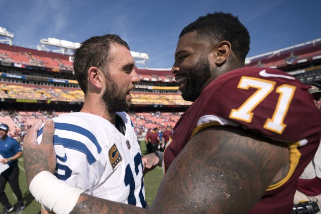 Washington Redskins offensive tackle Trent Williams (71), who has held out for the entire season, revealed a cancer diagnosis last week. File Photo by Kevin Dietsch/UPI