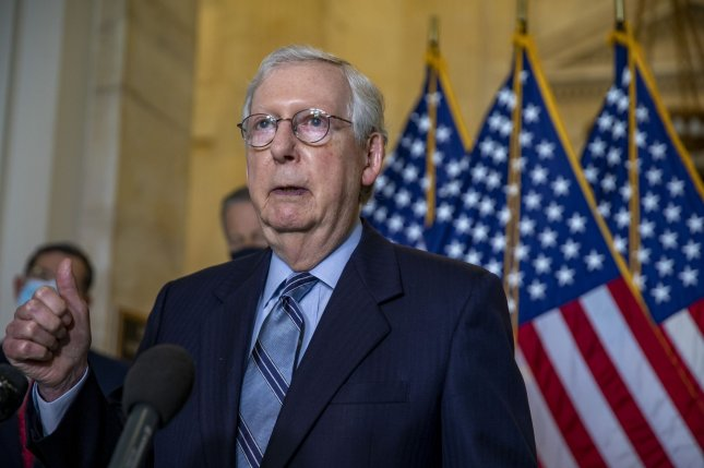 Senate Minority Leader Mitch McConnell, R-Ky., recently warned corporations to stay out of politics. Photo by Tasos Katopodis/UPI