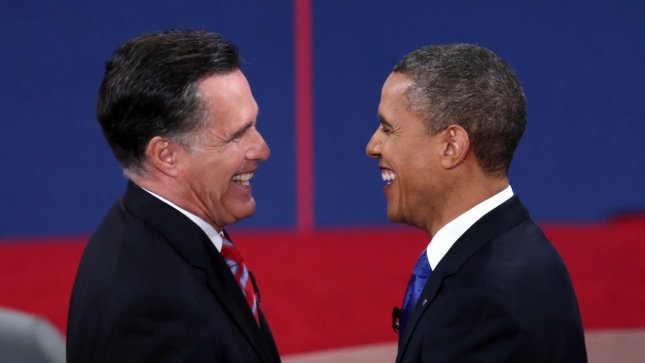 President Barack Obama and Republican Presidential Candidate Mitt Romney shake hands at the end of the final Presidential debate on the campus of Lynn University in Boca Raton, Florida on October 22, 2012. UPI/Win McNamee/Pool