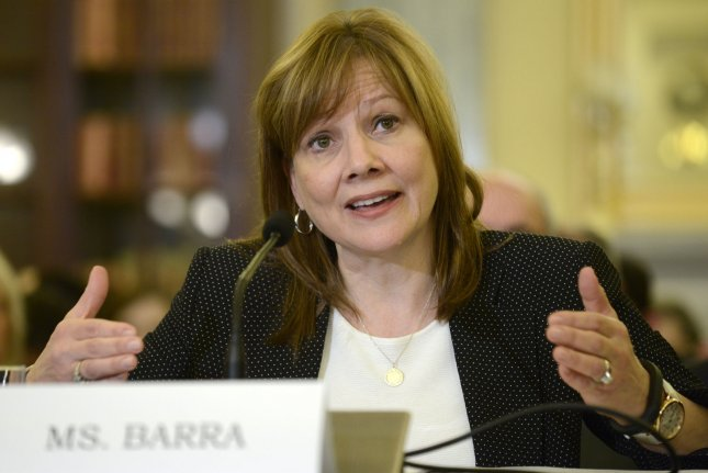 General Motors Chief Executive Mary T. Barra testifying before a Senate Commerce, Science and Transportation Committee hearing on the safety of the Chevy Cobalt car, April 2, 2014, in Washington, DC. Barra testified that GM is apologizing to victims who died in accidents because of a faulty ignition switch and will pay damages to families. (File/UPI/Mike Theiler)