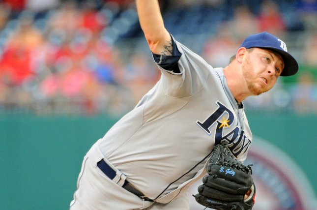 Tampa Bay Rays starting pitcher Steven Geltz (54) pitches against the Washington Nationals in the first inning at Nationals Park in Washington, D.C. on June 17, 2015. Photo by Mark Goldman/UPI