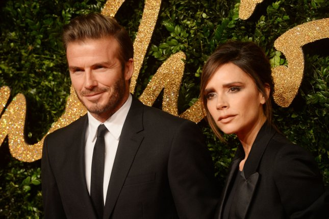 Victoria Beckham (R) and husband David Beckham at the British Fashion Awards on November 23, 2015. The couple married in 1999. File Photo by Rune Hellestad/UPI
