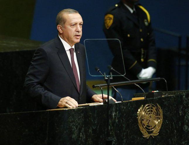 Recep Tayyip Erdogan, president of Turkey, addresses the 71st session of the General Debate of the United Nations General Assembly at the UN in New York City on September 20, 2016. His Turkish National Defense Ministry announced Sunday the suspension or firing of 300 Naval officers suspected of being involved in a failed coup attempt July 15. Photo by Monika Graff/UPI
