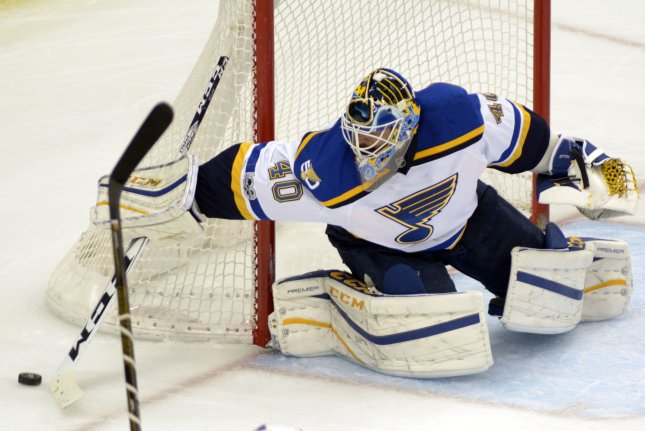 St. Louis Blues goalie Carter Hutton (40) stopped all 26 shots he faced and received goals from forwards Paul Stastny and Kenny Agostino to lead the Blues to a 2-0 win over the Philadelphia Flyers on Monday night at the Wells Fargo Center. File Photo by Archie Carpenter/UPI