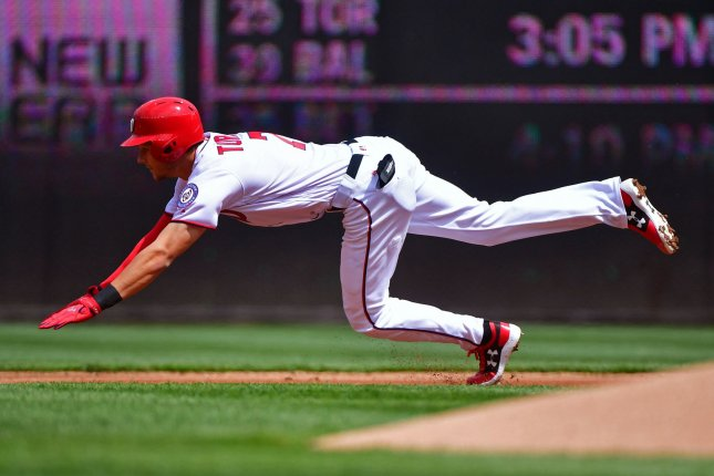 The Nationals put star shortstop Trea Tuner on the disabled list. File photo by Kevin Dietsch/UPI