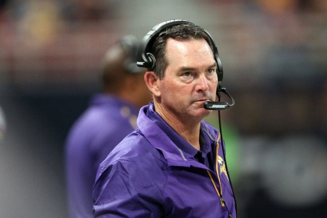 Minnesota Vikings head football coach Mike Zimmer cut three players Thursday after the team signed 13 rookie free agents Monday. File Photo by Bill Greenblatt/UPI