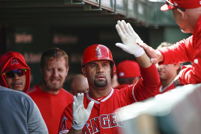 Los Angeles Angels first baseman Albert Pujols hit his 2,000th career RBI in a win over the Detroit Tigers on Thursday, though he will not receive the record ball he hit. Photo by Kamil Krzaczynski/UPI