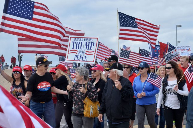 Some 2,000 Make America Great Again supporters rally in Huntington Beach, Calif., in 2017. Trump plans to kick off his 2020 campaign in Orlando on Tuesday. File Photo by Jim Ruymen/UPI