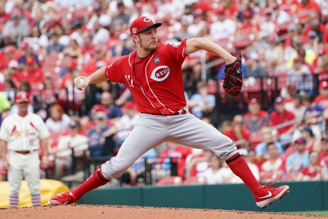 Cincinnati Reds starting pitcher Trevor Bauer joined the team in 2019 after being traded from the Cleveland Indians. Photo by Bill Greenblatt/UPI