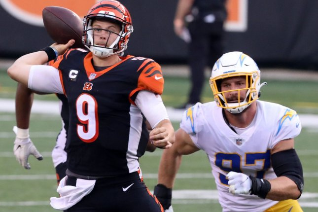 Cincinnati Bengals quarterback Joe Burrow (9) completed 23 of 36 passes for 193 yards and an interception in a loss to the Los Angeles Chargers Sunday in Cincinnati. Photo by John Sommers II/UPI
