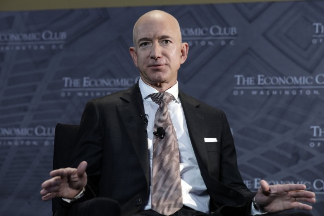 Amazon founder Jeff Bezos will step down as CEO of the company in the third quarter of 2021 and Andy Jassy, CEO of Amazon Web Services, will take over the company's helm. File Photo by Yuri Gripas/UPI