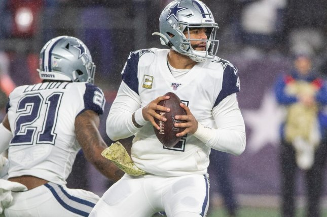 Dallas Cowboys quarterback Dak Prescottbroke his right ankle during a win over the New York Giants on Oct. 11 in Arlington, Texas. File Photo by Matthew Healey/UPI
