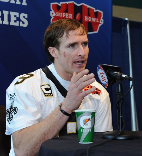 New Orleans quarterback Drew Brees, a member of the NFL Players Union, speaks to the press on Media Day during Super Bowl eek in Miami Feb. 2, 2010. UPI Photo/Roger L. Wollenberg