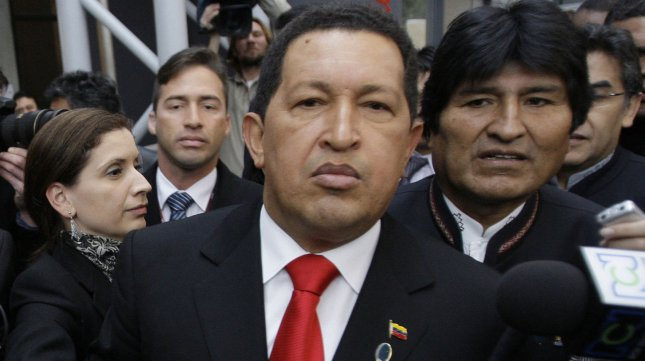 Venezuela's President Hugo Chavez, seen in this December 18, 2009 file photo speaking to the media in Denmark, has reportedly died after a two-year battle with cancer, ending his 14-year rule of the country, according to Vice President Nicolas Maduro, March 4, 2013. UPI/Anatoli Zhdanov/File Photo