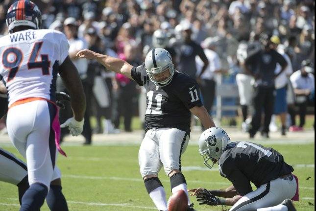 Oakland Raiders kicker Sebastian Janikowski (11) attempts a 38 yard field goal from the hold of Marquette King that was blocked by the Denver Broncos in the first quarter at O.co Coliseum in Oakland, California on October 11, 2015. The Broncos defeated the Raiders 16-10. Photo by Terry Schmitt/UPI