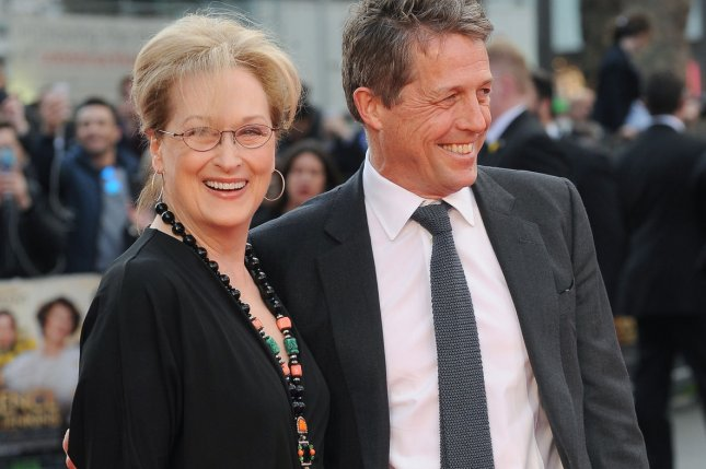 American actress Meryl Streep and English actor Hugh Grant attend the world premiere of Florence Foster Jenkins in London on April 12, 2016. File Photo by Paul Treadway/ UPI