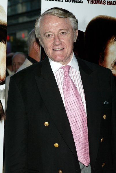 Robert Vaughn arrives for the premiere of Brokentrail at the Loews Lincoln Square Theater in New York on June 13, 2006. File Photo by Laura Cavanaugh/UPI