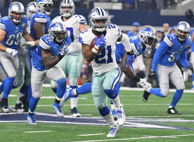 Ezekiel Elliott of the Dallas Cowboys scores on a 55-yard touchdown in a game against the Detroit Lions last season. Photo by Ian Halperin/UPI
