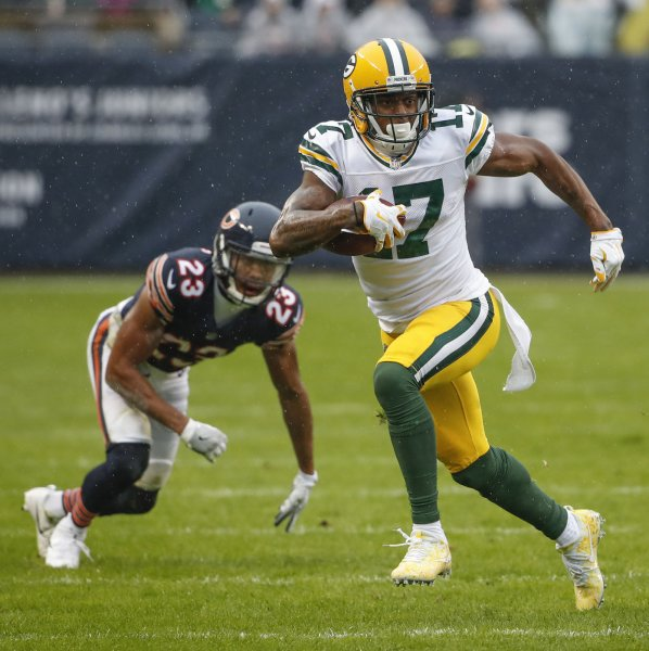 Green Bay Packers receiver Davante Adams runs by Chicago Bears cornerback Kyle Fuller during their game in November. Photo by Kamil Krzaczynski/UPI