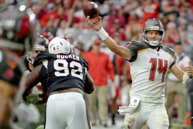 Tampa Bay Buccaneers quarterback Ryan Fitzpatrick lets go of a pass during a game against the Arizona Cardinals on October 15, 2017.Photo by Art Foxall/UPI