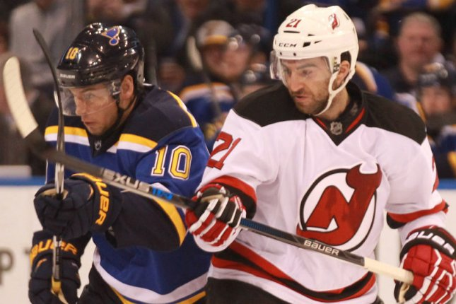 Kyle Palmieri and the New Jersey Devils take on the Washington Captials on Friday. Photo by Bill Greenblatt/UPI