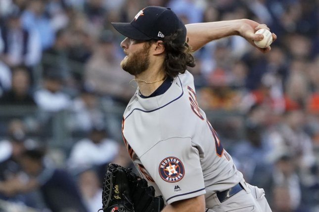 Houston Astros starting pitcher Gerrit Cole pitches against the New York Yankees in the second inning of Game 3 of their American League Championship Series on Tuesday at Yankee Stadium in New York City. Photo by Ray Stubblebine/UPI