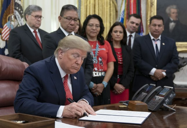 President Donald Trump signed an executive order establishing a task force to address thousands of cases of missing and murdered Native Americans and Alaskans. Photo by Chris KleponisUPI