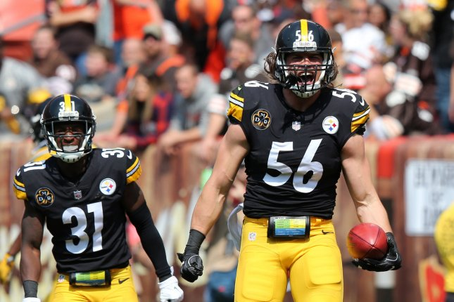 Former Pittsburgh Steelers linebacker Anthony Chickillo (56) recorded 19 total tackles in 11 games with the Steelers last season. File Photo by Aaron Josefczyk/UPI
