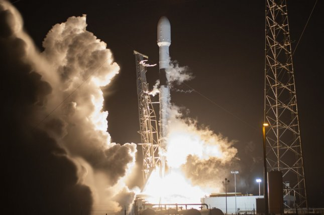 A SpaceX Falcon 9 rocket boosts the company's Starlink satellites to orbit from the Cape Canaveral Air Force Station last Wednesday. Photo by Joe Marino/UPI