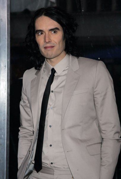 Russell Brand arrives for the Arthur Premiere at the Ziegfeld Theater in New York on April 5, 2011. UPI /Laura Cavanaugh