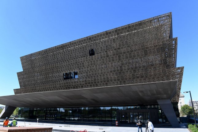 The Smithsonian National Museum of African American History and Culture is seen on Wednesday on the National Mall in Washington, D.C. The 400,000 square-foot museum is 60 percent underground and will open to the public on Monday, Sept. 24. Photo by Pat Benic/UPI