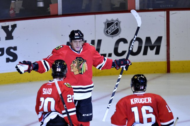 Chicago Blackhawks' Marian Hossa has his team near the top of the NHL Power Rankings for December. File photo by Brian Kersey/UPI