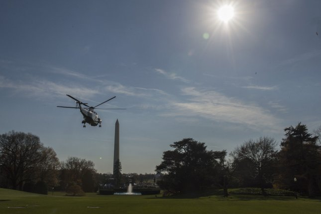 President Donald Trump departs via Marine One on the South Lawn of the White House in Washington, D.C. on November 29, 2017. Photo by Pat Benic/UPI