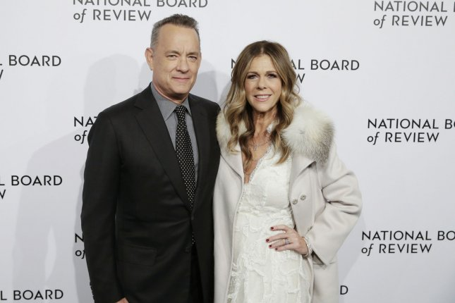 Tom Hanks and Rita Wilson arrive on the red carpet at the National Board of Review Annual Awards in New York City on January 9. Hanks is in Baton Rouge working on a new movie called Greyhound, Sony said Friday. File Photo by John Angelillo/UPI