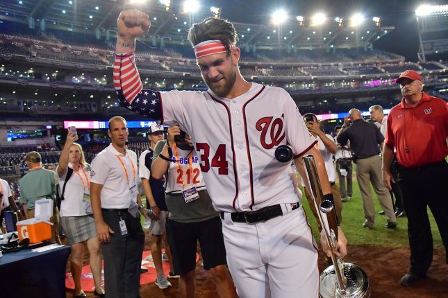Washington Nationals outfielder Bryce Harper of the National League holds up the trophy after winning the 2018 Home Run Derby on July 16 at Nationals Park in Washington, D.C. Photo by Jon SooHoo/UPI