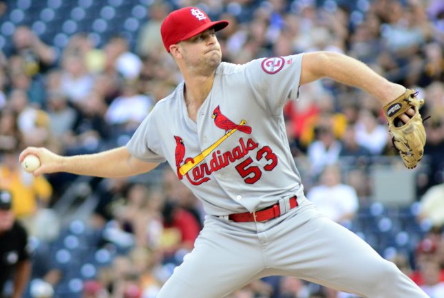 John Gant and the St. Louis Cardinals face the Washington Nationals on Tuesday. Photo by Archie Carpenter/UPI